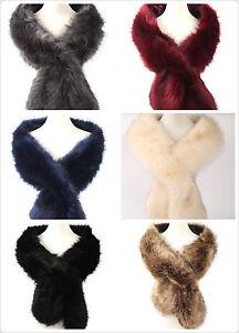 New Ladies Women Large Warm  Faux Fur collar  Scarf, Neckwarmer shawl wrap
