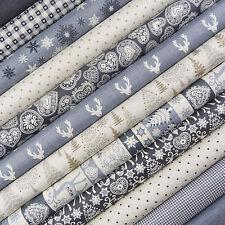 Makower ~ Scandi Christmas Blue Fabric Scrap Pack / quilting reindeer snowflake