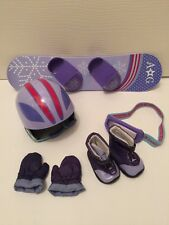 American Girl Snowboarding Set -Board Helmet Boots Goggles Mittens