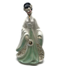 "Vintage Josef Original Sakura Japanese Woman Geisha Figurine W/ Fan 11"" As Is"