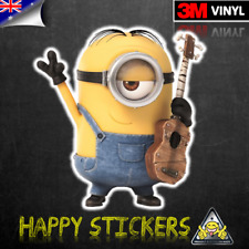 Despicable Me Stuart Guitar Minion Luggage Car Skateboard Vinyl Decal Sticker