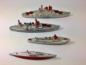 Tootsietoy US Navy Battleship Cruiser Destroyer & Submarine Lot Of 4 1950's