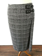 M&S Collection Size 12 Black White Check Midi Wrap Skirt Buckle Office Work