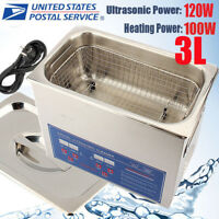 3L Ultrasonic Heated Cleaner Stainless Steel Liter Industry Heater W/Timer US