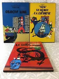 TIN TIN HERGE PLAQUE LACQUER WALL HANGING ART RED BLUE YELLOW COMIC STRIP