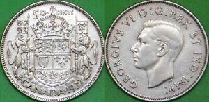 1937 Canada Silver Half Dollar Graded as Fine