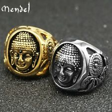 MENDEL Mens Thai Amulet Gold Buddhist Buddha Ring Men Stainless Steel Size 7-15