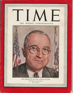 """""""The President Of The United States"""" TIME: THE WEEKLY NEWS-MAGAZINE 1945 USA"""