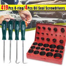 419PCS Rubber O Ring Oil Seal Screwdriver Kit w/ 4 Pick Hooks Hand Tools