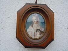 Miniature portrait peint jeune femme & chien tableau Style Louis XVI