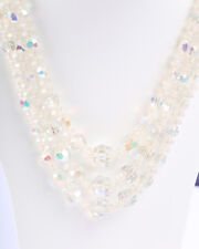 1950s Clear Faceted Plastic Bead Necklace, 32 inches long