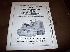 Allis-Chalmers HD 21 Crawler Tractor Operator's & Field Maintenance Manual