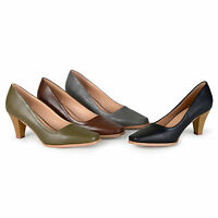 Brinley Co Womens Stacked Heel Classic Pumps New