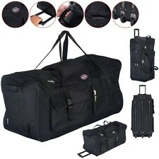 36 Inch Rolling Wheeled Tote Duffel Bag Carry On Luggage Travel Suitcase - Black