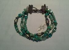 """turquoise w/ silver beads chalcedony gray pearls 7"""" bracelet by Carmen Q"""