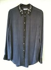 EQUIPMENT Femme French Label Silk Shirt Button Up Navy with Jewelled Collar sz S