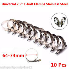 """10xUniversal 2.5"""" Silicone Turbo Pipe Hose Coupler T-bolt Clamps Stainless Steel"""
