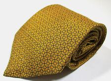 Hermes Paris 7695 OA Geometric Pattern Orange Silk Necktie Tie Made In France