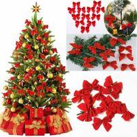 12Pcs Christmas Red Bowknot Xmas Tree Hanging Ornament Party Xmas New Year Decor