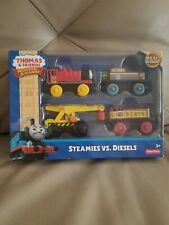 Thomas the Train & Friends Steamies vs Diesels Set (4 Trains) Real Wood NEW!