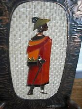 Copper & Enamel Handmade Cloisonne Original Plaque African Picture by L.Frizelle