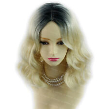 Wiwigs Amazing Wavy Blonde & Black Brown Medium Dip-Dye Ombre Ladies Wig