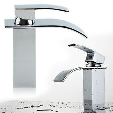 Waterfall Basin Sink Tap Square Mixer Chrome Mono Bloc Bathroom Cloakroom