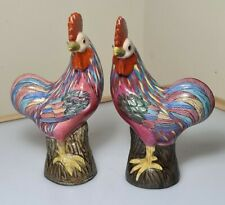 More details for a pair of early 20th century chinese famille rose porcelain cockerels