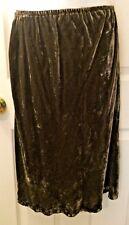 Women's J.JILL Brown Crushed Velvet Velour Skirt Button Hem Pull On Sz XS Petite