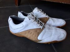 Footjoy Mens 11M Golf Shoes White Tan Brown Saddle Softspikes