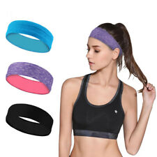 3x Elastic Stretch Headband Sweat Wicking Hairband Running Yoga Turban Head Wrap