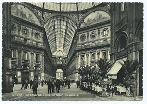 Black & White Postcard of Interior of Victor Emmanual II Gallery, Milan, Italy