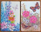 PRETTY FLOWERS & BUTTERFLIES - 2 SINGLE SWAP PLAYING CARDS
