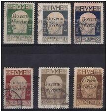 FIUME RIJEKA 1921 D´ANNUNZIO SOPRASTAMPATI GOVERNO PROVVISORIO 6 valori §§ € 122