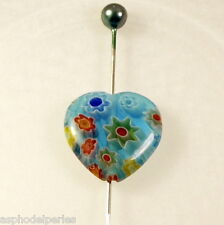 2 perles en forme de coeur en verre de Millefiori 13,5 x 13 mm couleur turquoise