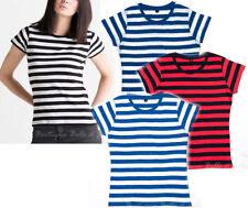 Gestreifte Damen-T-Shirts aus Baumwolle in Größe XL