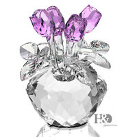 H&D Handmade Purple Crystal Rose Figurine Glass Xmas Wedding Gift Ornaments