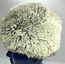 Vintage Real Fur Hat Very Plush Gray And Soft Gold Satin Lined