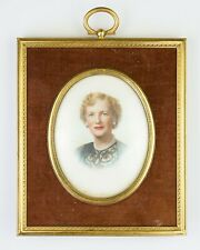 "Vintage 1950s Miniature Portrait Painting of Woman in Travel Frame 4""x5"""