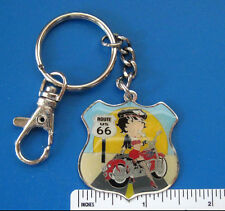 "BETTY  BOOP   ""Biker Betty on Route 66"" - keychain  key chain GIFT BOXED"