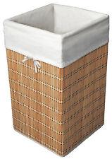 Alpha Bamboo - Cesto biancheria o portagiochi quadrato con fodera in cotone