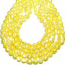 """NP437L2 Yellow 7mm - 8mm Baroque Cultured Freshwater Pearl Gemstone Beads 14"""""""
