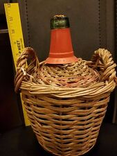 Vintage Empty VIRESA SISTEMA Green Bottle in Woven Basket with Two Handles