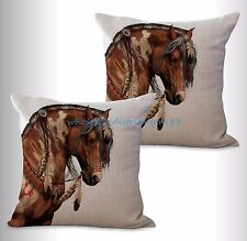 US SELLER-2pcs equine horse equestrian cushion cover pillow case covers