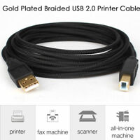 Braided 6ft 10ft 15ft USB 2.0 Type A Male to B Male (AMBM) Printer Cable Cord