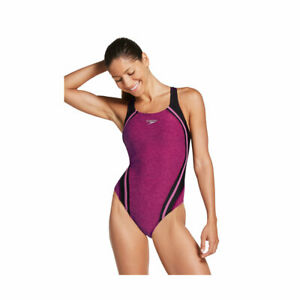 Speedo Heather Quantum Splice One-Piece, Women's Size 12, Raspberry Radiance NEW