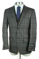 NWT STACY ADAMS Grey Brown Plaid 2Btn Single Pleat 3 Piece Suit +Vest 38 R + Pin