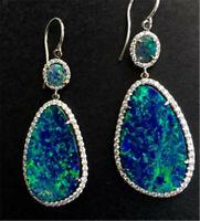 925 Silver Opal Ear Hook Dangle Drop Earrings Women Jewelry Party Wedding Gift