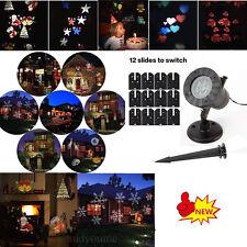 12 Patterns Laser LED Light Card Moving Snowflake Projector Landscape Xmas Lamp