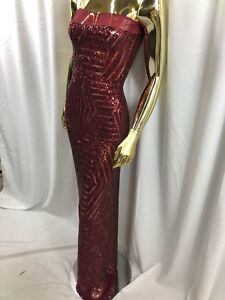 Geometric 2 Way Stretch Sequins Burgundy Embroider On A Mesh Nightgown-Prom BTY
